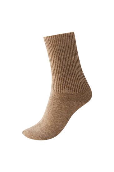 Dikke lange ribcord sokken