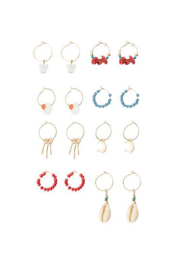 Pack of 8 pairs of stone earrings
