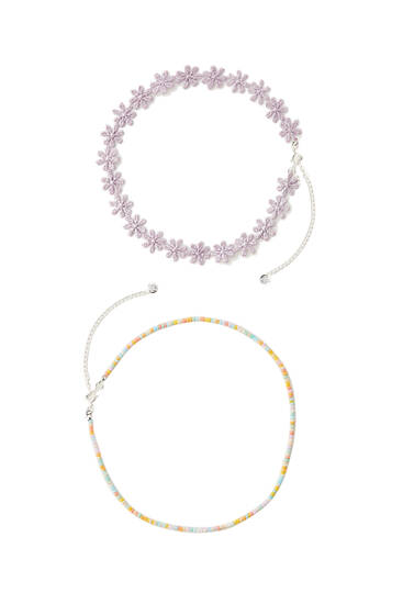 Pack of crochet chokers with beads