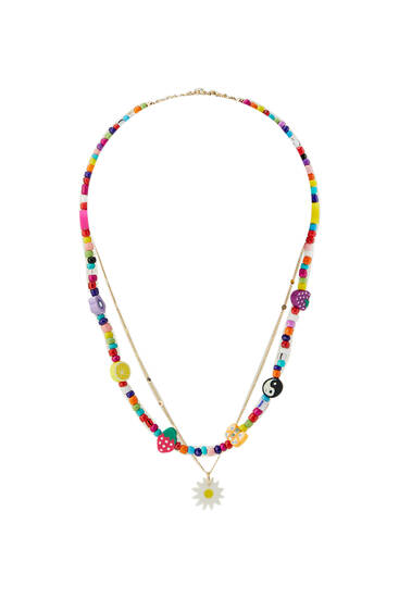 2-pack of floral bead necklaces