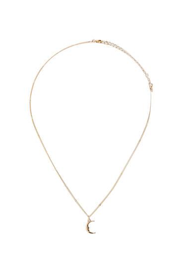 Half-moon metallic necklace