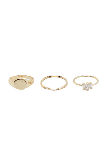 3-pack of gold-plated minimalist rings