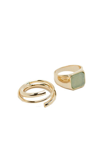 2-pack of gold-plated signet and spiral rings