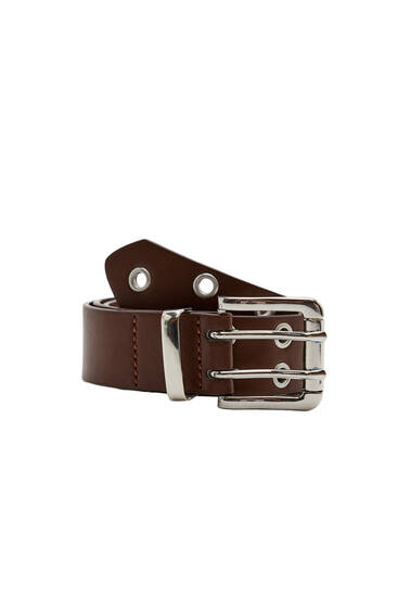 Belt with double rows of eyelets