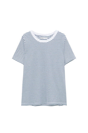 Striped t-shirt with contrast neckline