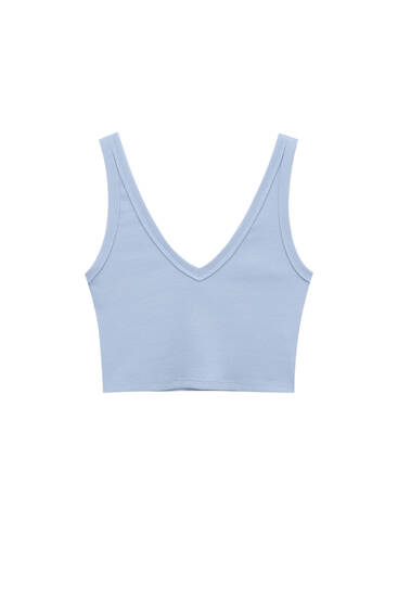 Ribbed top with straps - Ecologically grown cotton (at least 50%)