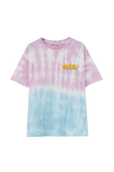 Camiseta tie-dye texto delantero