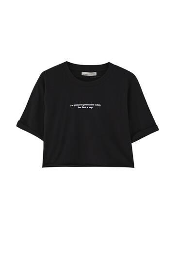 Kort T-shirt med kontrastslogan
