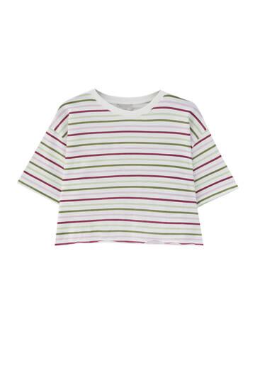 Stribet kort T-shirt – 100 % økologisk bomuld