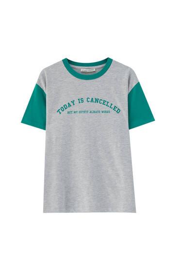 Basic varsity slogan T-shirt