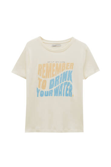 Basic T-shirt with front slogan