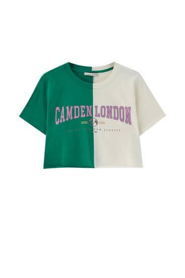 Cropped colour block T-shirt