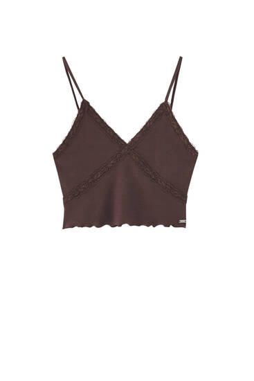 Brown crop top with lace trims