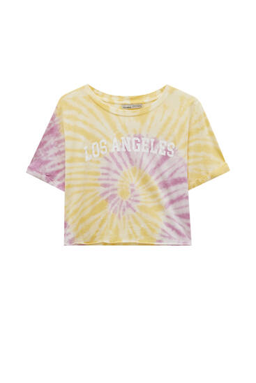 Kort T-shirt i batik med byprint
