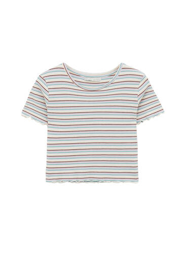 Check texture striped T-shirt