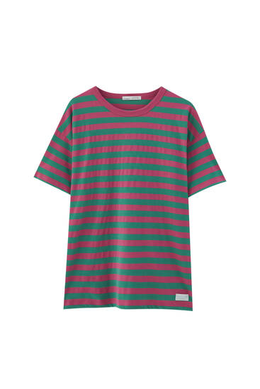 Camiseta rayas rosas verdes
