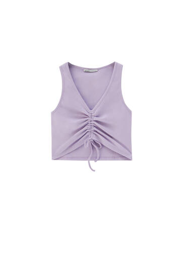 Ribbed top with gathered front - ecologically grown cotton (at least 95%)