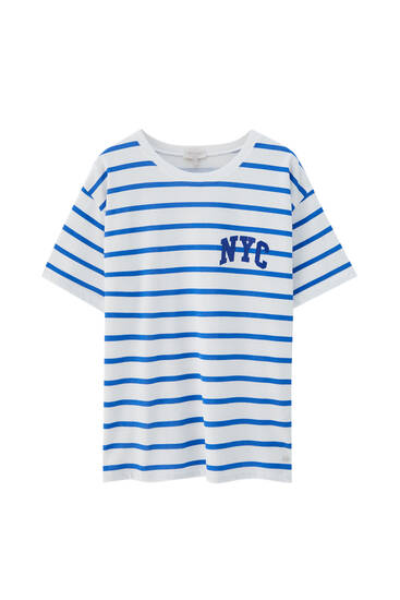 NYC striped T-shirt - 100 % ecologically grown cotton