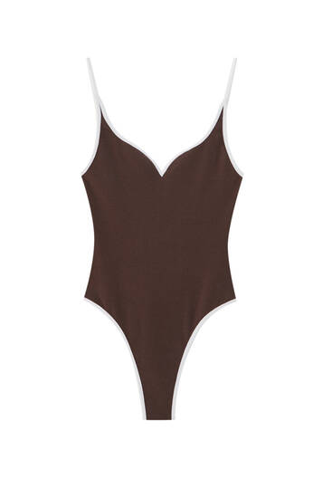 Strappy bodysuit with contrast trims