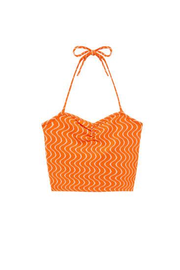 Orange wavy print crop top