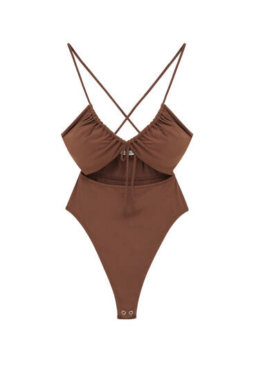 Halter bodysuit with cut-out detail