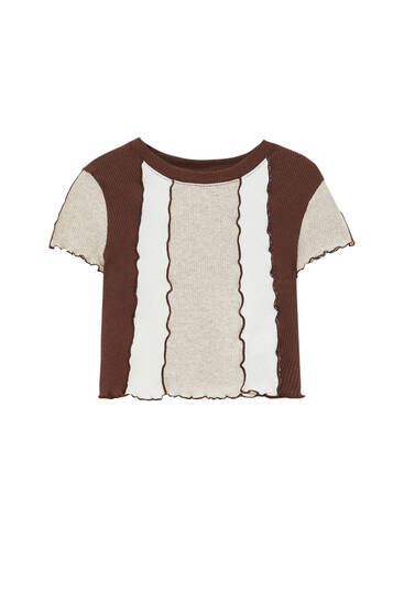 Patchwork t-shirt with seam detail