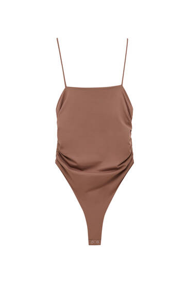 Strappy bodysuit with ruched detail