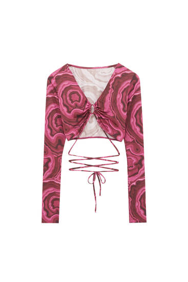 Cut-out top with psychedelic print