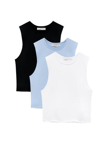 Pack of basic tops with tie detail