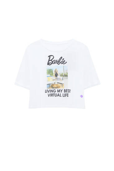 Cropped white Barbie T-shirt