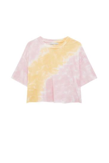 Camiseta básica cropped tie-dye