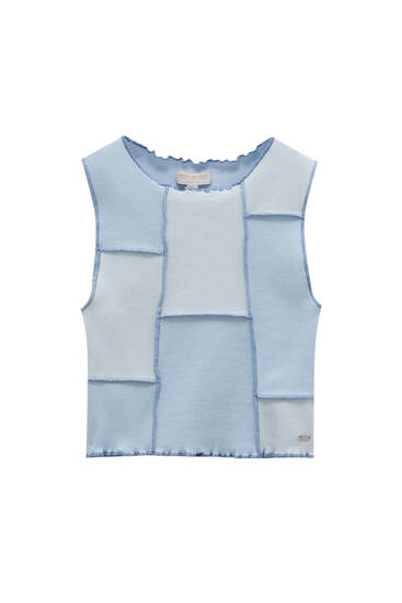 Blue patchwork top with seams