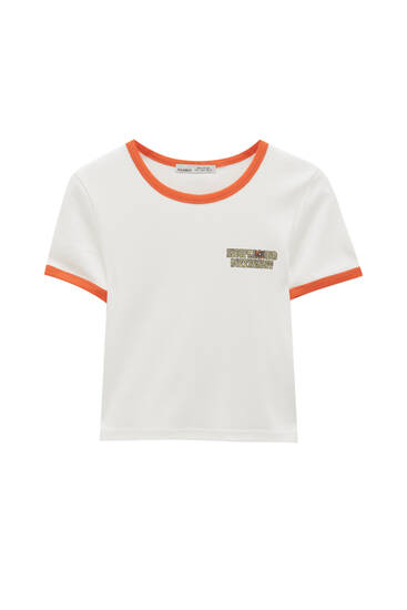 Camiseta blanca rib contraste