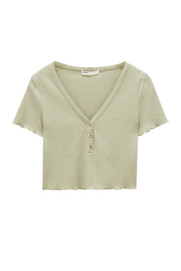 Ribbed crop top with buttons