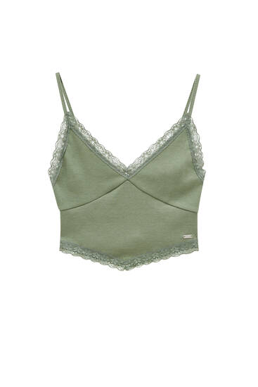 Ribbed strappy top with lace trim
