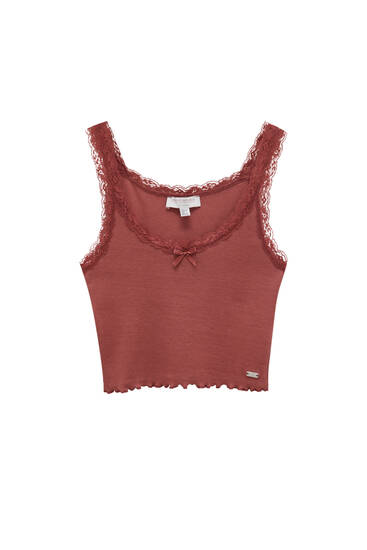 Strappy top with lace trim detail