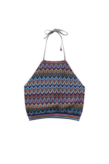 Multicoloured knit halter top