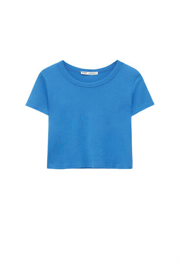 Cropped short sleeve T-shirt