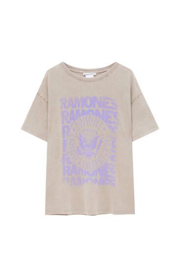 Lilac Ramones logo T-shirt