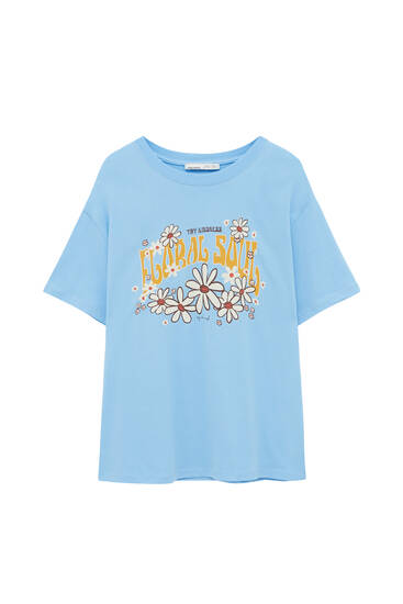 T-shirt with contrast daisies