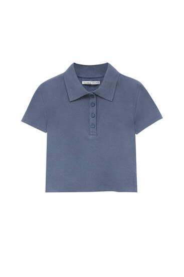 Cropped polo shirt