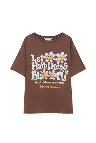 Brown T-shirt with a graphic daisy print