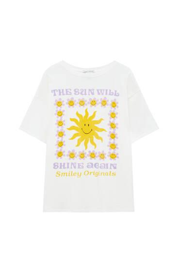 Camiseta blanca gráfico sol
