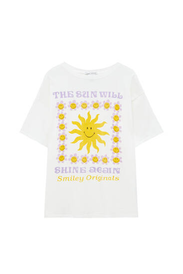 White T-shirt with a graphic sun print