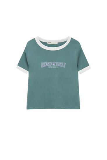 Slogan T-shirt with trim detail