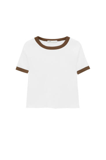 Cropped T-shirt with contrasting ribs