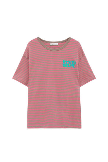 Striped t-shirt with contrast slogan