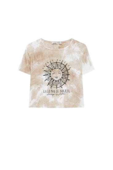 Tie-dye T-shirt with a contrast graphic