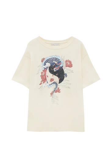 Contrast illustration T-shirt