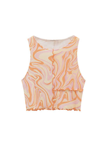 Psychedelic print top with visible seams